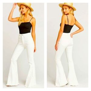 Super Flare White Fringe Jeans
